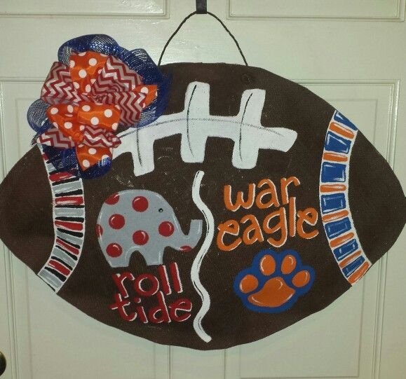 Auburn U0026 Alabama House Divided Burlap Football Door Hanger By BLESS YOUR  HEART ART❤