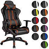 TecTake Chaise fauteuil siège de bureau racing sport ergonomique avec support lombaire et coussin - diverses couleurs au choix - (Marron Noir | No. 402230)