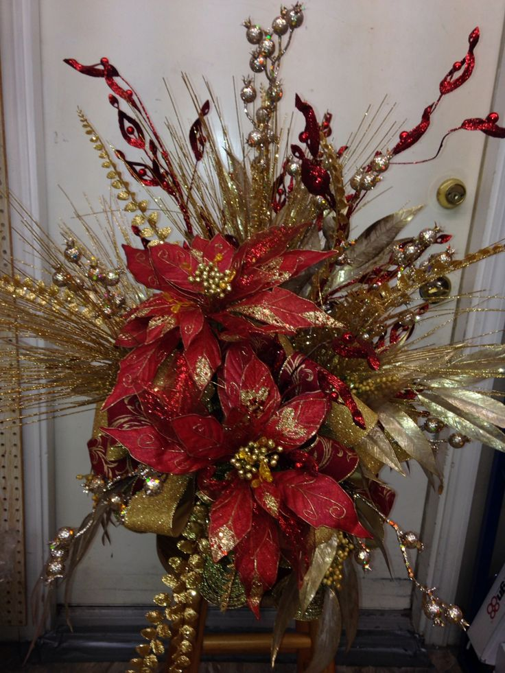 Red and gold tree topper