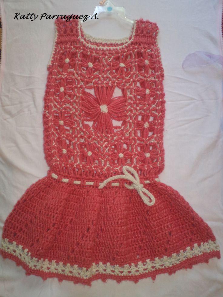 vestido a crochet y telar