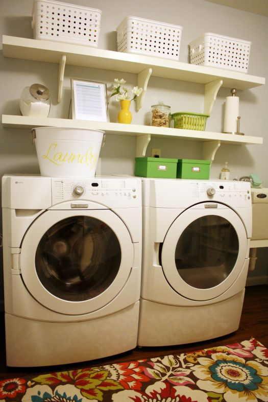 Inspiring laundry rooms.: Open Shelves,  Wash Machine,  Automat Washer, Ikea Shelves, Decoration Idea, Gray Paintings Color, Laundry Rooms Rugs, I Heart Organizations, Organizations Laundry Rooms