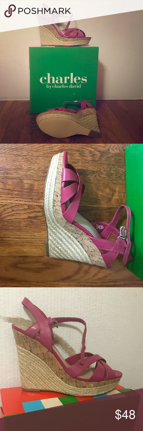 CHARLES DAVID Shoe Styles: Astro                                                Color: Magenta                                                    Material: Leather                                                Size: 7.5 Charles David Shoes Wedges