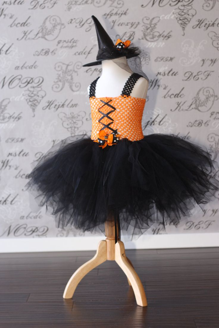 Orange and Black Witch Tulle Tutu Dress-up Halloween Costume Bird Cage Veil Dress Disney Tutu Children Toddler Infant Custom Crochet. $35.00, via Etsy.