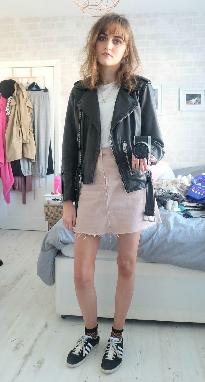 pink denim skirt