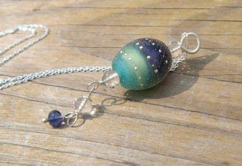 Celestial Plum Sea Salt Round Handmade Glass Lampwork Beads SRA