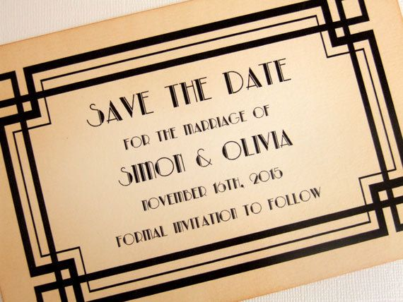 Art Deco Save the Date Cards. This set of 10 Great Gatsby inspired art deco cards are the perfect way to announce the date of your wedding. $18 by simplyprettypieces