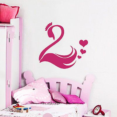 Wall Decals Swan Bird Crown Heart Vinyl Sticker Bedroom Decor O172