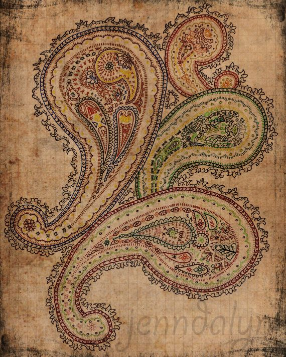 чешского искусства boho Декор Пейсли смешанная техника рисования красочный арт-8 x 10 распечатка на бумаге пергамент хиппи цыган