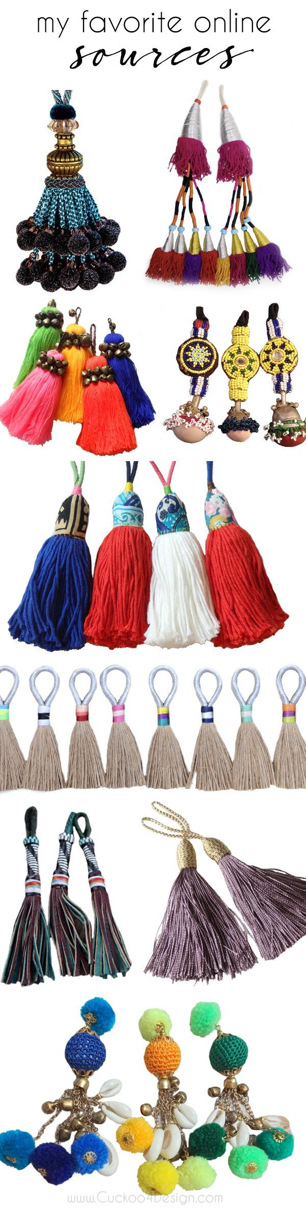 my favorite sources for colorful global, tribal and traditional tassels