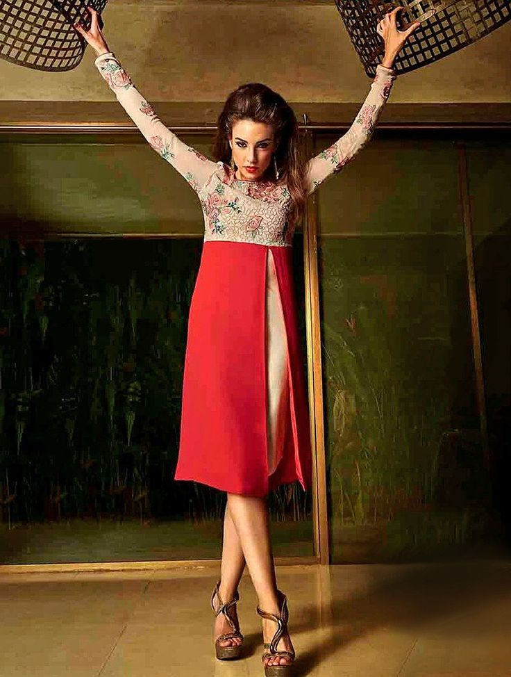 Excellent Red & Cream Readymade Stylish Kurti