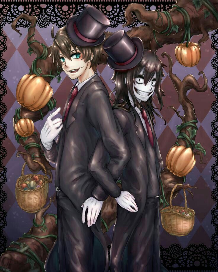 Happy Halloween, Jeff the Killer, Homicidal Liu, brothers, pumpkins, suits, top hats, outfits, costumes, baskets, candy; Creepypasta