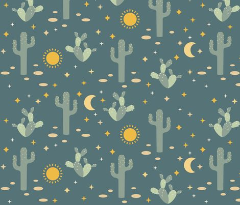 Cactus moon and stars by heleenvanbuul click to purchase for Moon pattern fabric