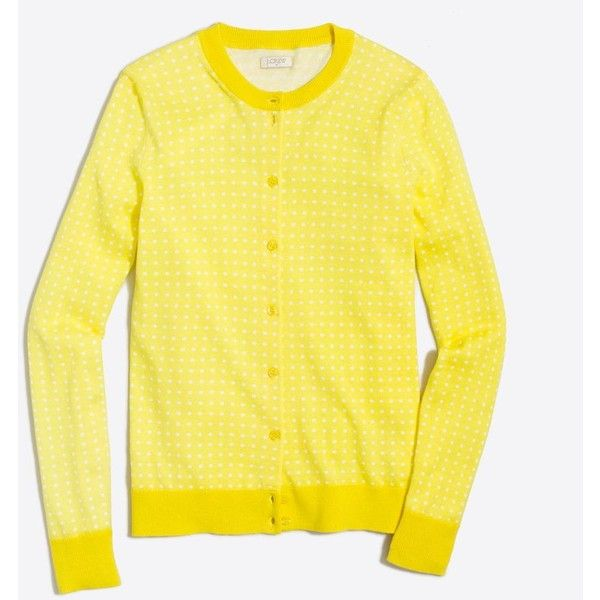 J.Crew Dotted Caryn cardigan sweater ($40) ❤ liked on Polyvore featuring tops, dot top, yellow long sleeve top, yellow polka dot top, long sleeve tops and polka dot top