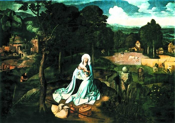 2005.02 // Joachim Patinir , Odpoczynek podczas ucieczki do Egiptu, olej na desce, 1522, Muzeum Prado, Madryt