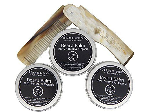 3 Beard Balm Kit  Real Horn Natural Organic Conditioning Oils Moustache Inc Real Horn Folding Comb By Hamilton Jackson Best Beard Softening Conditioner for Men Handcrafted in London in Gift Box *** Check out the image by visiting the link.