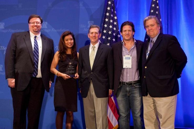 Franklin Center President Jason Stverak, Michelle Malkin, Sen. Demint, Larry Solov & Steve Bannon #BreitbartAward
