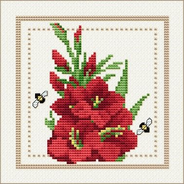 August - Gladiolus, Project 2010 - Flower of the Month, designed by Ellen Maurer-Stroh, from EMS Cross Stitch Design.