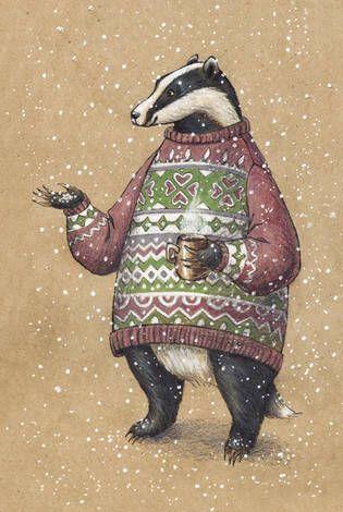Барсук в свитере и с кружкой