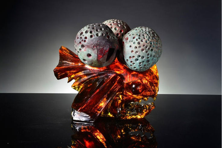 "Jaromir Rybak ""Fish Under the Stones"", 2003. Cast, cut, polished and engraved glass, 43x50x54 cm (17x20x21 inches)."