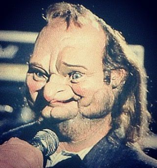 Phil's puppet on the set of  Land Of Confusion