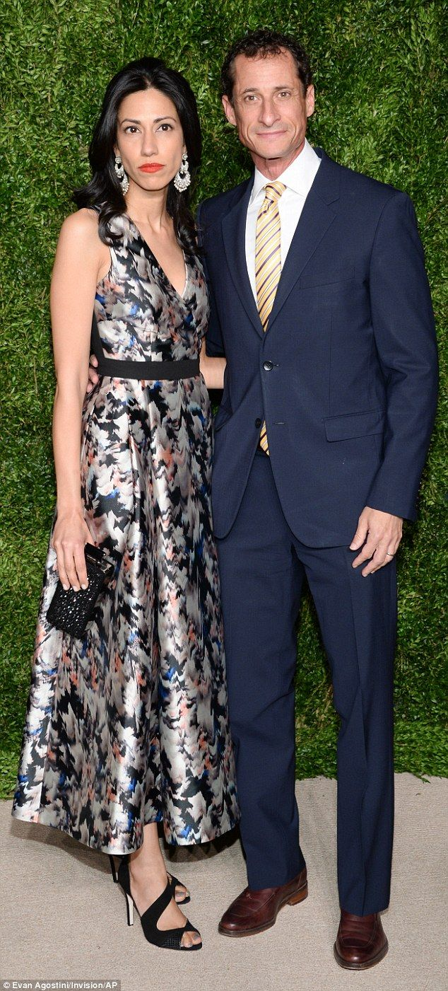 Huma Abedin poses with husband Anthony Weiner at Vogue Fashion Awards  | Daily Mail Online
