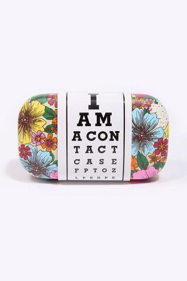 Étui pour lentilles de contact motif fleuri - contact case