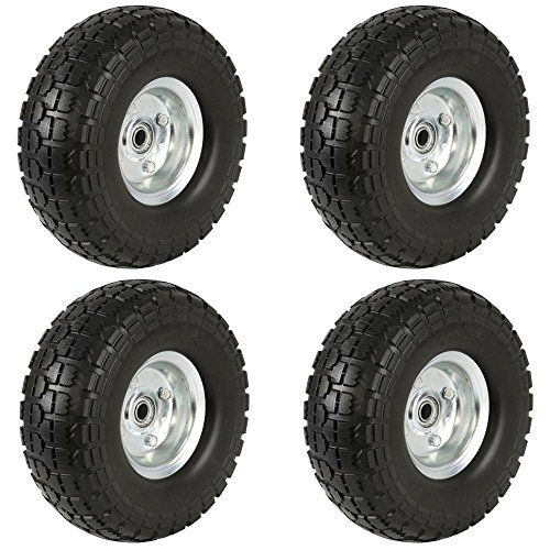 """Yaheetech 4x10"""" Spare Cart Tires/Wheels for Camping / Garden / Beach or Truck /Trolley / Wagon. For product info go to:  https://www.caraccessoriesonlinemarket.com/yaheetech-4x10-spare-cart-tires-wheels-for-camping-garden-beach-or-truck-trolley-wagon/"""