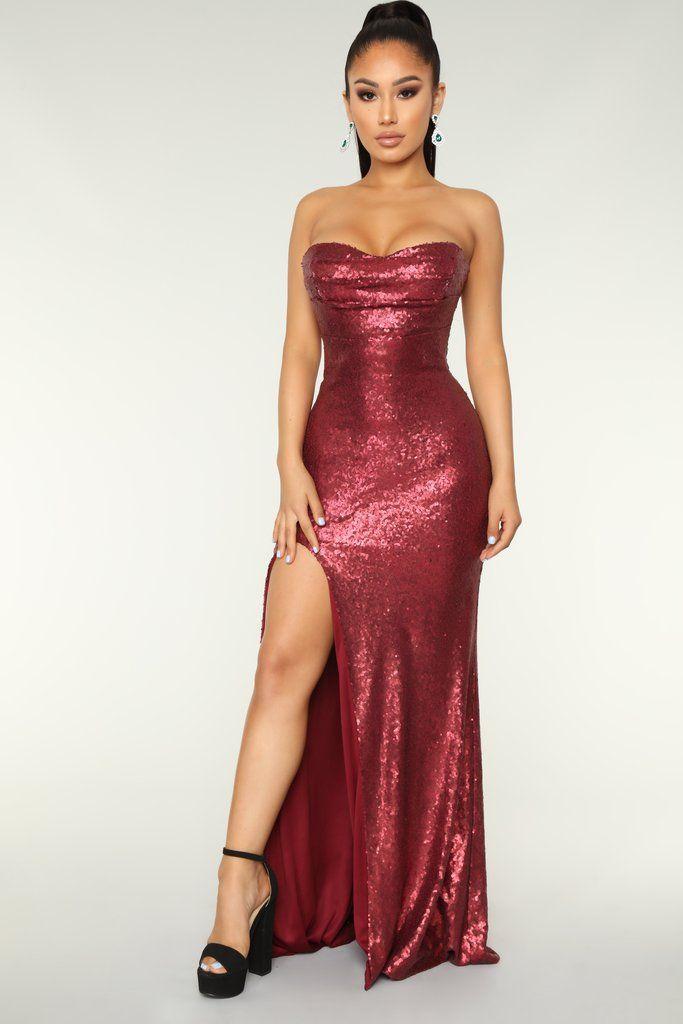 Midnight Kiss Sequin Dress Wine Fashion Nova Dresses