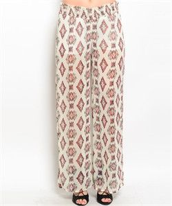 Ivory and Wine Pants