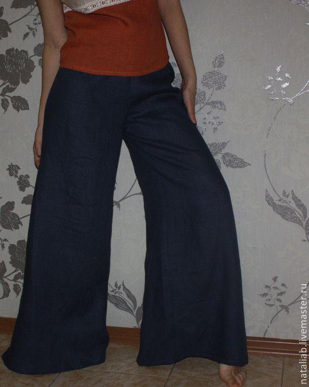 Купить Льняные брюки-юбка - темно-синий, юбка-брюки, брюки-юбка, брюки женские