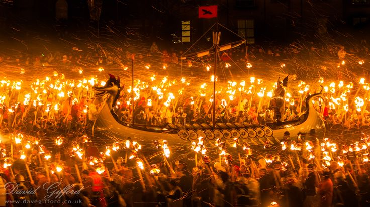 Up Helly Aa refers to fire festivals held in Shetland, in Scotland, annually in the middle of winter to mark the end of the yule season. The festival involves a procession of up to a thousand guizers in Lerwick. The current celebration grew out of the older yule tradition of tar barrelling which took place at Christmas and New Year as well as Up Helly Aa. Squads of young men would drag barrels of burning tar through town on sledges, making mischief.Up Helly Aa Photos | David Gifford…