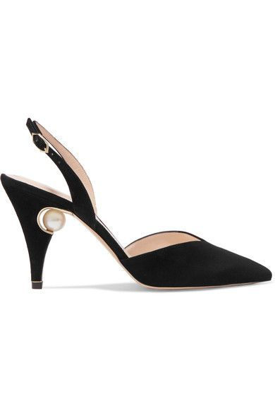 Nicholas Kirkwood - Penelope Embellished Suede Slingback Pumps - Black - IT35.5