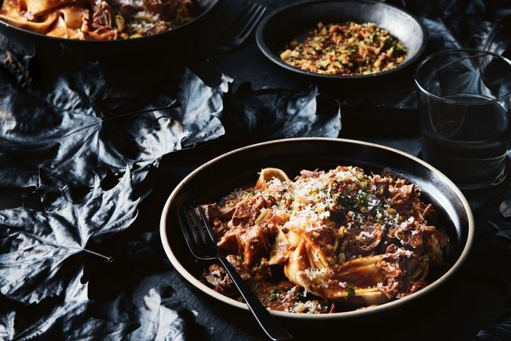 Veal osso bucco pappardelle with chili pangrattato
