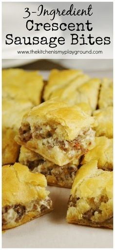 Looking for quick and easy party food?  Three-ingredient Crescent Sausage Bites  are super simple and always a party hit!   CLICK HERE TO ...