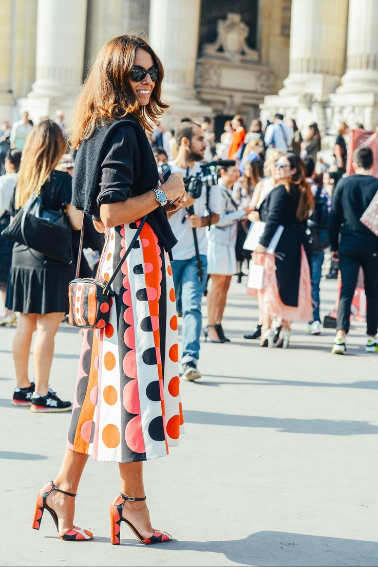 These supersized dots—also by Valentino—were a winning look for Viviana Volpicella.