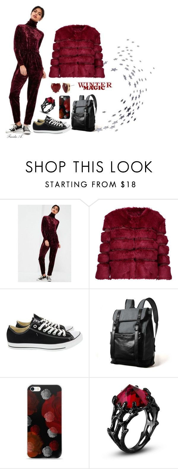 """Winter Jumpsuit"" by freida-adams ❤ liked on Polyvore featuring Missguided, AINEA, Converse, Betsey Johnson, wine, jumpsuit, winterstyle and missguideus"