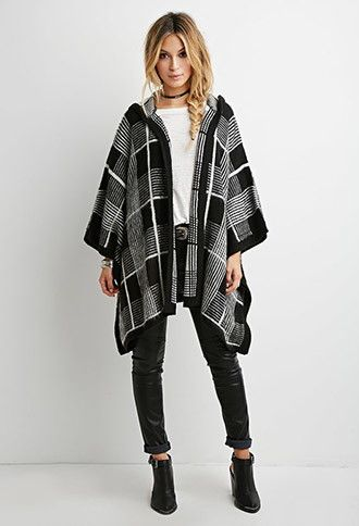 Hooded Plaid Poncho | Forever 21 - 2000156801