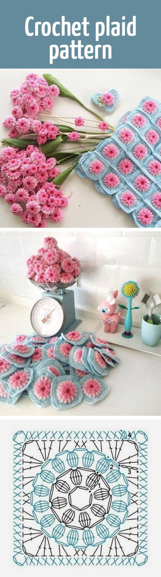 Crochet plaid pattern / вяжем крючком плед из квадратных мотивов