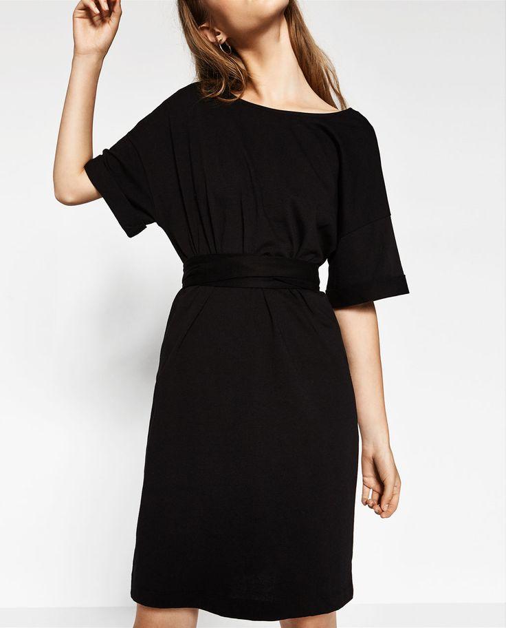 Zara kleid schwarz ruschen