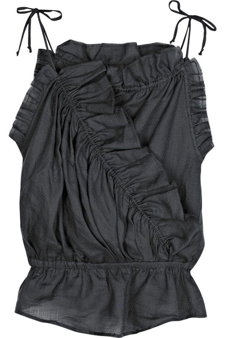 Isabel Marant's ruffled dark-gray topRuffles Darkgray, Darkgray Tops, Clothing, Ruffles Rami, Marant Isabel, Rami Tops, Isabel Marant, Ruffles Tops, Marant Ruffles