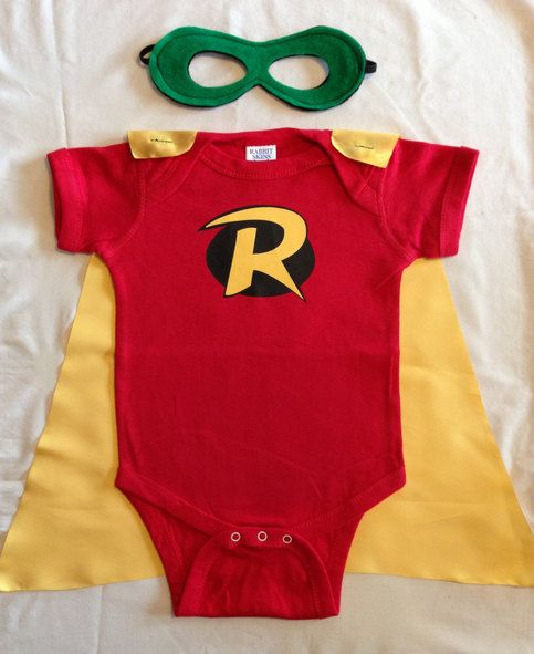 Robin Superhero Baby Outfit with Detachable Satin Cape and Reversible Mask, Batman and Robin Super Hero Apparel or Costume sold by Just Kid'...