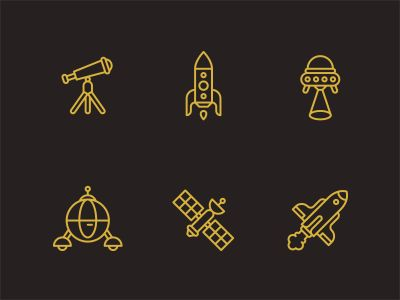 Space icons by Tim Boelaars via Dribbble