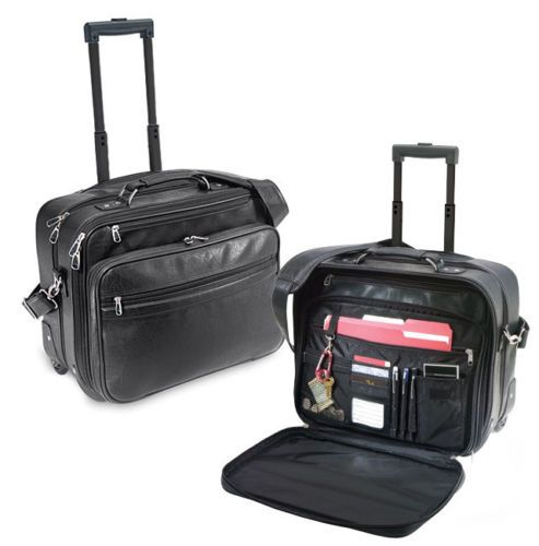Churchill Koskin Leather Rolling Laptop Computer Bag Wheeled Business Briefcase | eBay