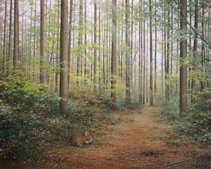 春の落葉松林 / 続木唯道 油彩(F30号) 2012年 http://www5b.biglobe.ne.jp/~tree/mysite1/oilpaintings_4_haruno_karamatsubayashi_usagi.html