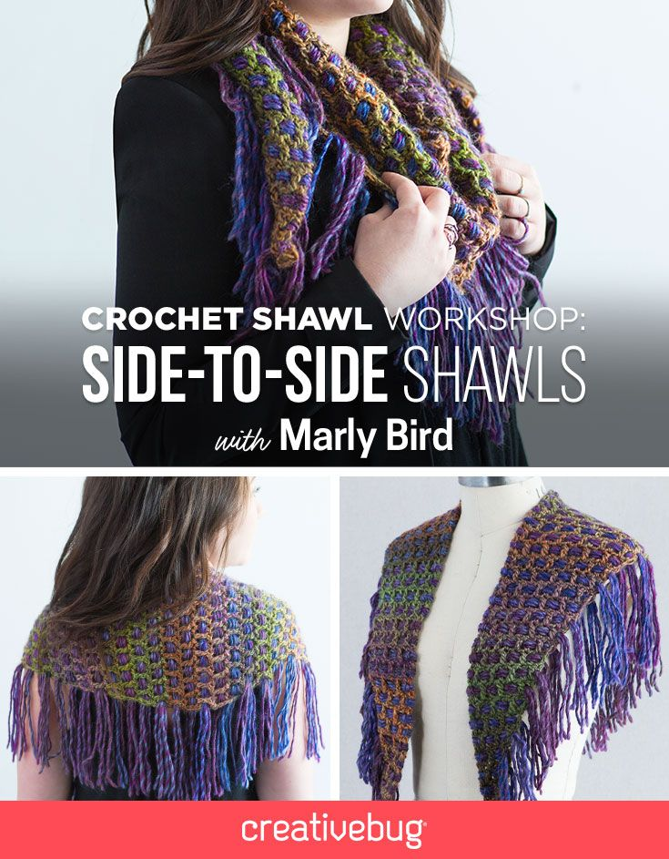 Side-to-side shawls can appear daunting, but it's actually one of the easiest shawl styles to construct. Join Marly Bird as she shows you how to create this fabulous shawl that will definitely catch everyones attention.