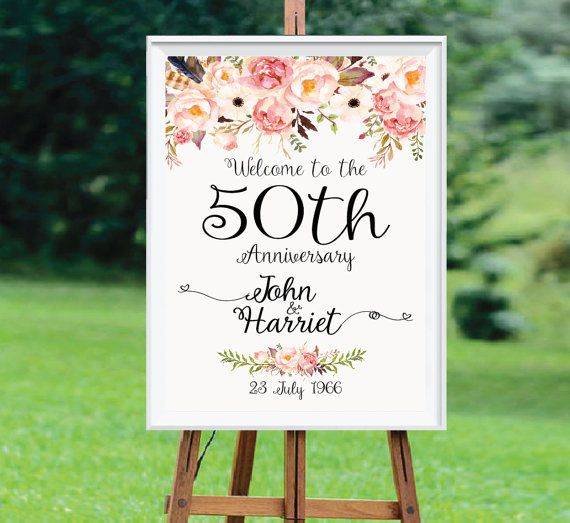 Anniversary Sign Printable, Wedding Sign, 50th Anniversary decoration, 50th anniversary poster