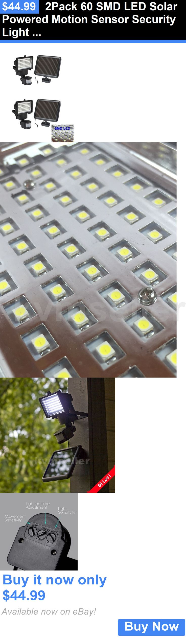 farm and garden: 2Pack 60 Smd Led Solar Powered Motion Sensor Security Light Flood Light Lamp BUY IT NOW ONLY: $44.99
