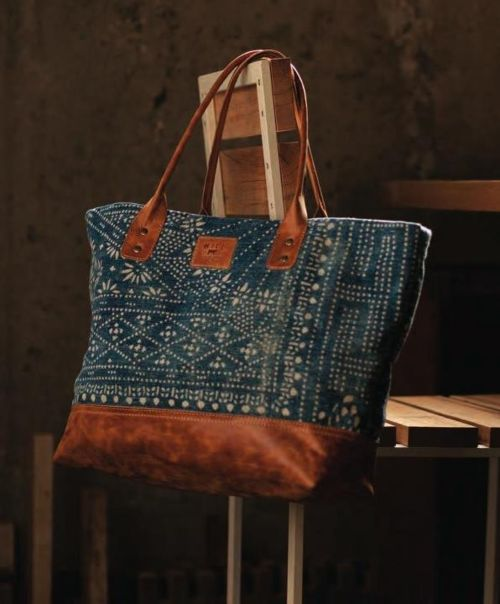 Indigo blue Batik and leather large bag