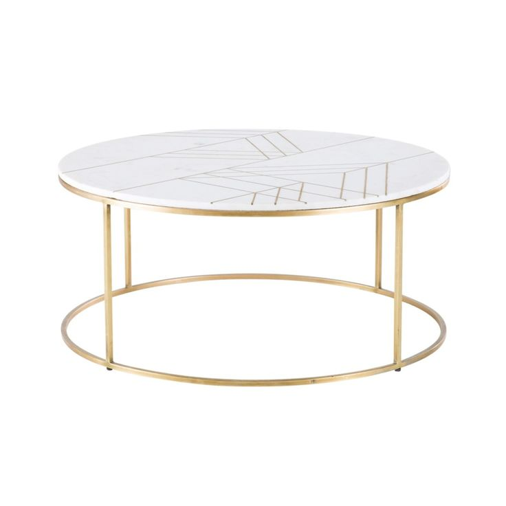 Gold Iron and White Marble Round Coffee Table