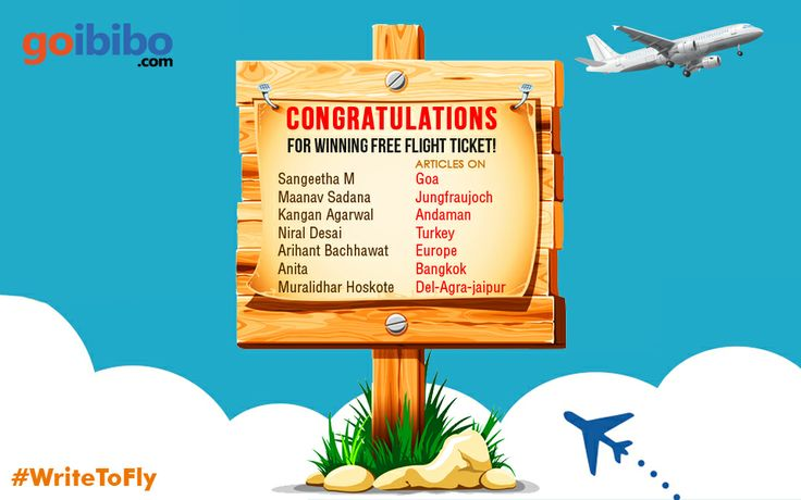 #WriteToFly Congratulations Winners!!! You all won Flight Ticket worth Rs 2000 in contest Write To Fly. Details have already been e-mailed to you. Still chance for others to share their travel experiences & WIN @ https://www.goibibo.com/write-to-fly/